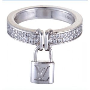 Louis Vuitton 18K White Gold Diamond Lockit Ring